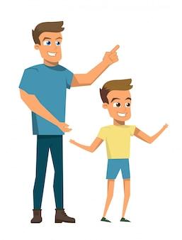 Vector ilustración de dibujos animados feliz concepto de familia