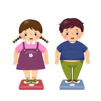 Vector ilustración de dibujos animados lindo gordo niño y niña comprobando su peso en la balanza.