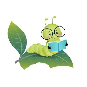 Vector ilustración de dibujos animados lindo oruga con gafas y leyendo un libro en la hoja.