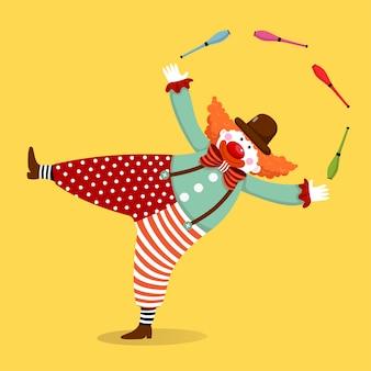 Vector ilustración de dibujos animados de un payaso lindo malabares con palos.