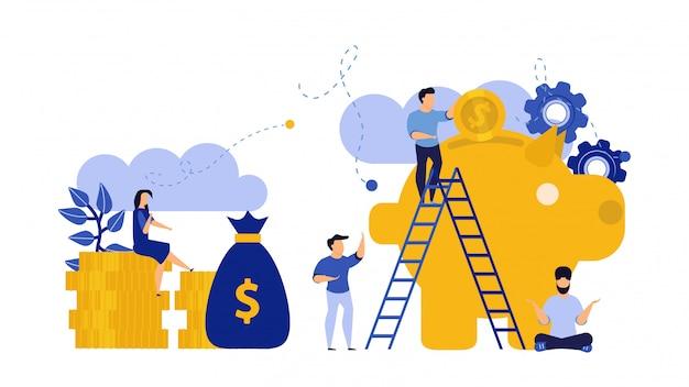 Vector de ilustración de dinero financiero banco alcancía personas vector con monedas de oro y bolsa de dinero.