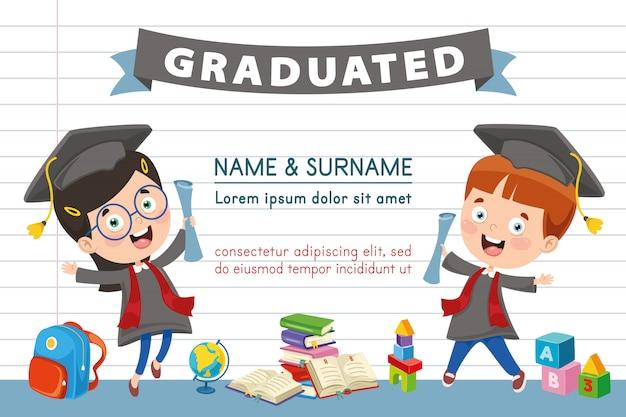 Vector ilustración de diploma de los niños