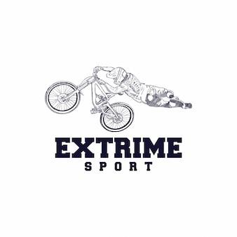 Vector de ilustración de diseño de logotipo de bicicleta de montaña