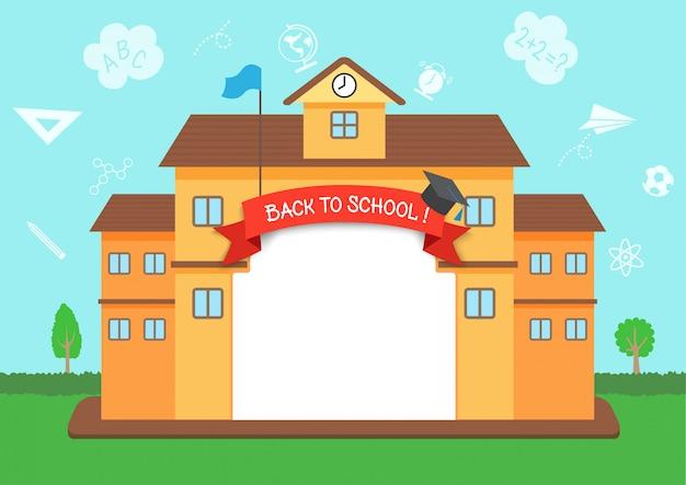 Vector de ilustración de diseño de marco de regreso a la escuela con fondo de esquema de conocimiento