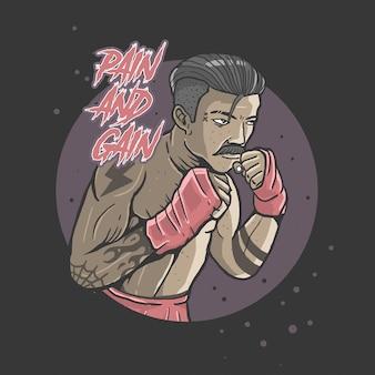 Vector de ilustración de dolor y ganancia de boxeo