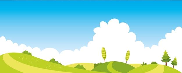 Vector ilustración de escena colorida naturaleza