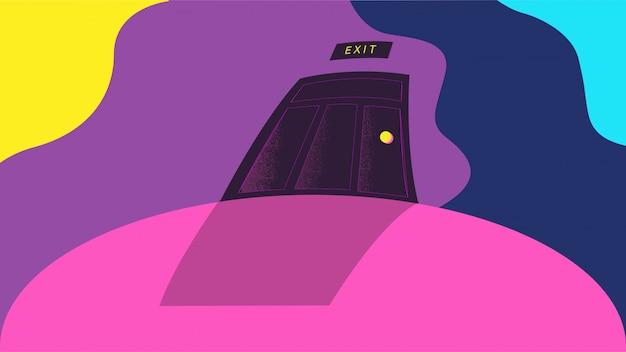 Vector de ilustración de escena de imaginación abstracta de puerta de sueños