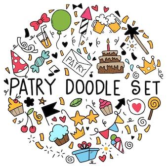 Vector ilustración feliz cumpleaños adornos a mano alzada doodle elementos fiesta