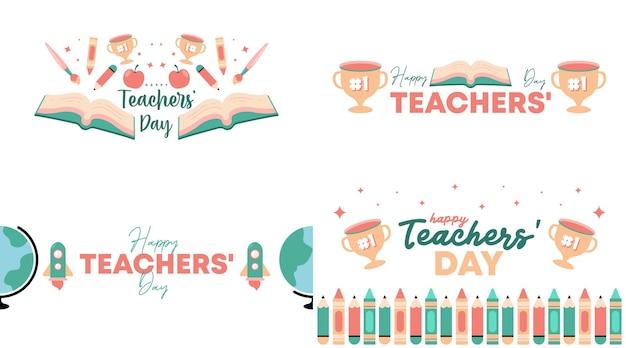 Vector de ilustración de feliz día del maestro con icono plano de color suave