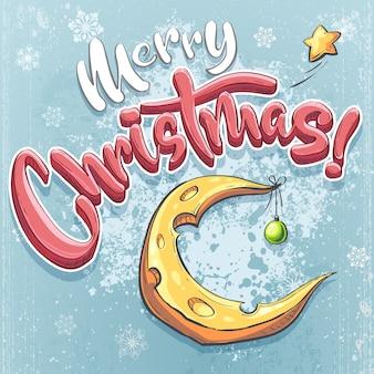 Vector ilustración de feliz navidad con luna de queso