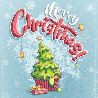 Vector ilustración de feliz navidad con regalo bajo el árbol