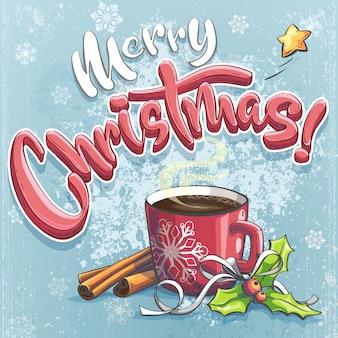 Vector ilustración de feliz navidad con una taza de café