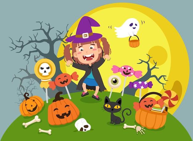 Vector de ilustración de fiesta de disfraces de niños de halloween