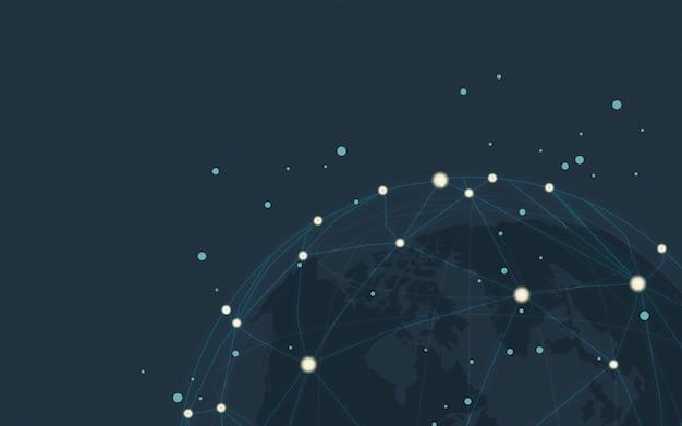 Vector de ilustración de fondo azul de conexión en todo el mundo