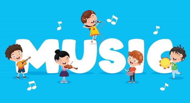 Vector ilustración de fondo de música de los niños