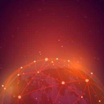 Vector de ilustración de fondo rojo de conexión mundial