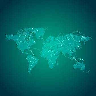 Vector de ilustración de fondo verde de conexión mundial