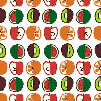 Vector ilustración de frutas y verduras de colores sin fisuras patrón de repetición decoración del hogar imprimir cocina