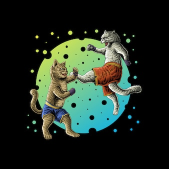 Vector de ilustración de gatos luchando