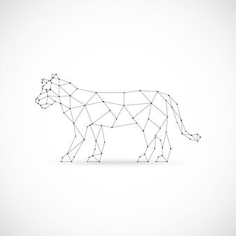 Vector ilustración geométrica de leona