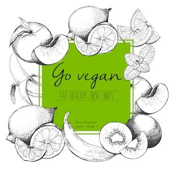 Vector ilustración grabada de frutas frescas