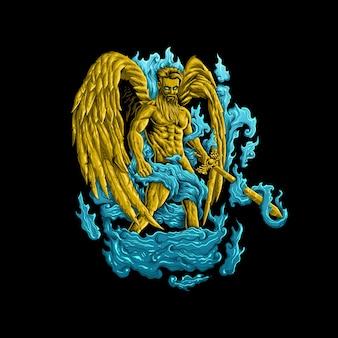 Vector de ilustración de grabado de ángel de oro