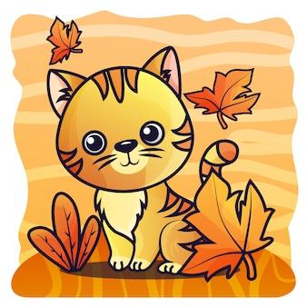 Vector de ilustración de gradiente de gato