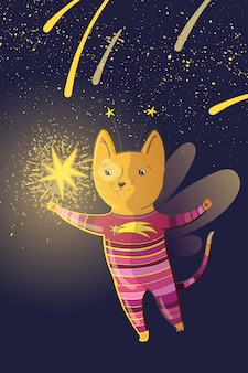 Vector ilustración de hadas de niños con gato de ensueño y estrellas.