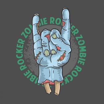 Vector de ilustración de halloween de zombie rocker mano