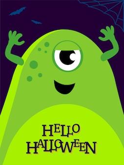 Vector ilustración helloween con monstruo divertido