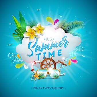 Vector ilustración de horario de verano con flores y gafas de sol