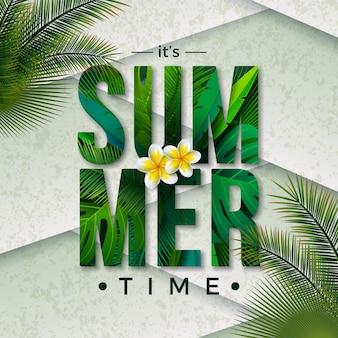 Vector ilustración de horario de verano con letra de tipografía y hojas de palmeras tropicales