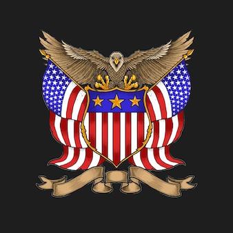 Vector de ilustración de insignia de águila americana