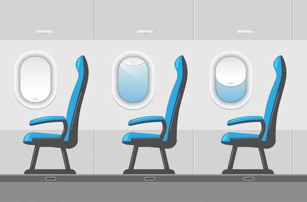 Vector ilustración interior del avión en un estilo moderno