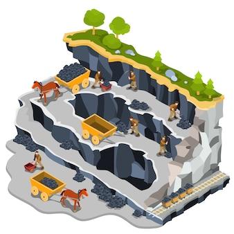Vector ilustración isométrica cantera de minería de carbón