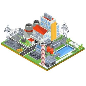 Vector ilustración isométrica de una planta de energía nuclear para la producción de energía eléctrica