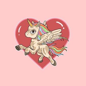 Vector de ilustración lindo amor unicornio rosa