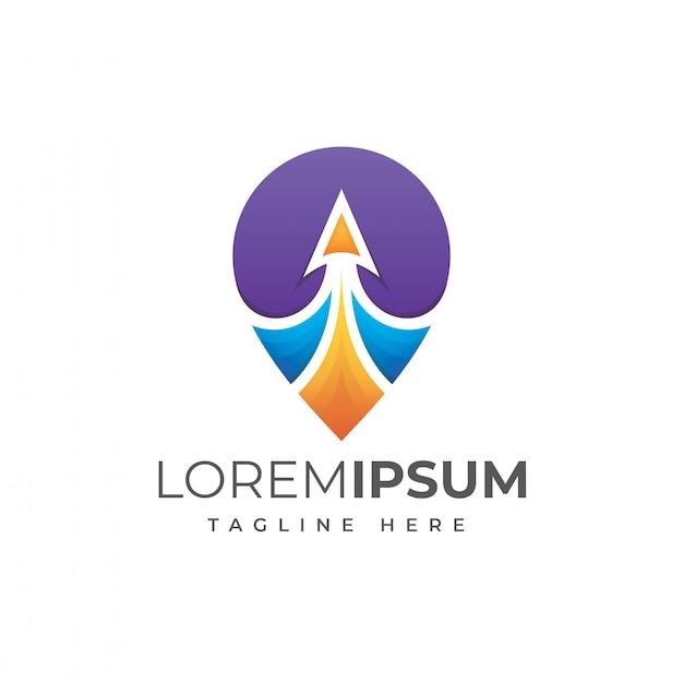 Vector de ilustración de logotipo de pin de viaje colorido
