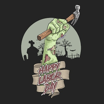 Vector de ilustración de mano de zombie del día del trabajo
