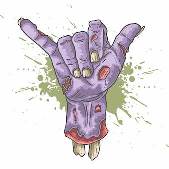 Vector de ilustración de mano de zombie shaka
