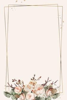Vector de ilustración de marco floral vintage