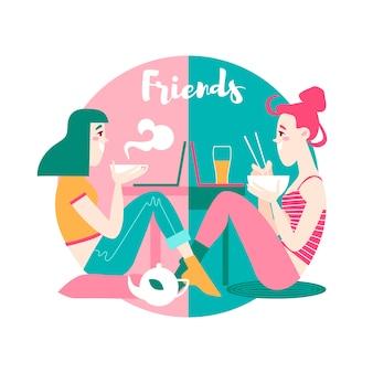 Vector ilustración minimalista de dos amigos charlando en línea