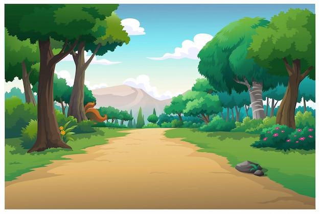 Vector ilustración montaña y cielo color brillante