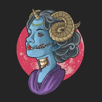 Vector de ilustración de mujer hermosa zombie