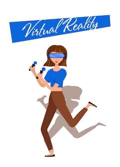 Vector, ilustración, de, mujer, en, realidad virtual, casco, con, movimiento, controler., vr, helmet., caricatura, realista, gente, set., plano, joven.