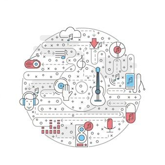 Vector ilustración de música de arte de línea delgada