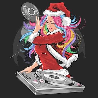 Vector de ilustración de niña santa claus navidad dj party