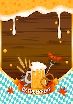 Vector de ilustración de oktoberfest con comida y bebida de salpicaduras de cerveza sobre fondo de tablón de madera