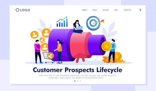 Vector de ilustración de página de destino de ciclo de vida de clientes potenciales