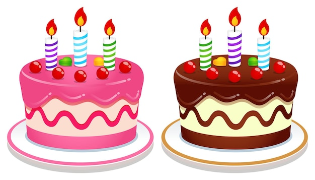 Vector de ilustración de pastel de cumpleaños
